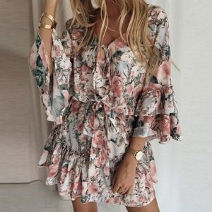 Pink Floral Ruffled Belted Mini boho sexy Dress